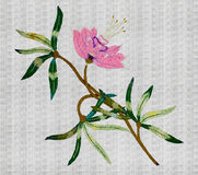 Embroidered pink flower Royalty Free Stock Photo
