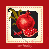 Embroidered with pomegranate Royalty Free Stock Image