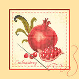Embroidered pomegranates Royalty Free Stock Photos
