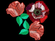 Embroidered poppy flowers and colorful butterflies to decorate. Clothes, vector illustration vector illustration