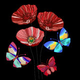 Embroidered poppy flowers and colorful butterflies to decorate Stock Images