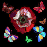 Embroidered poppy flowers and colorful butterflies to decorate Stock Photos