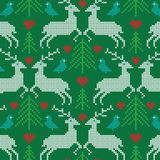 Embroidered prancing reindeer pattern Stock Image