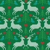 Embroidered prancing reindeer pattern Stock Image