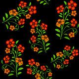 Embroidered red flowers on black background seamless pattern Stock Photos