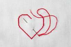 Embroidered red heart Stock Photography