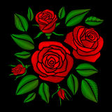Embroidered red rose flowers vector set Royalty Free Stock Photo
