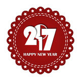 Embroidered red round ribbon stamp isolated on white. New Year 2017 concept. Can be used for banner, award, sale, icon, logo, label etc. Vector illustration Royalty Free Stock Image