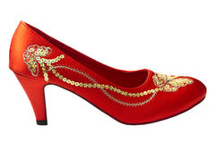 Embroidered red shoes Stock Photos