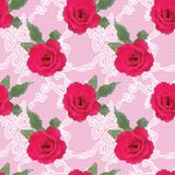 Fabric seamless pattern with embroidered roses Stock Photo