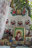 Embroidered Russian Orthodox icons. Stock Image