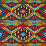 Embroidered seamless geometric pattern. Ornament for the carpet. Ethnic and tribal motifs. Colorful print of handmade. Vector illustration Stock Photography