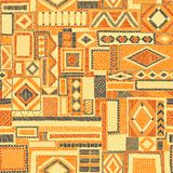 Embroidered seamless patchwork pattern. Bohemian ornament. Ethni. C and tribal motifs. Orange print for textiles. Vector illustration vector illustration