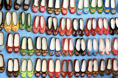 Embroidered shoes. On the market for sale Royalty Free Stock Photography