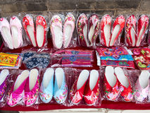 Embroidered shoes. On the market for sale,It is China's traditional handicraft Royalty Free Stock Photography