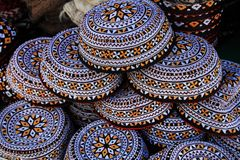 Embroidered skull-caps. Turkmenistan. Ashkhabad Stock Photography