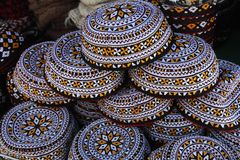 Embroidered skull-caps. Turkmenistan. Ashkhabad Stock Image