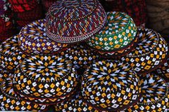 Embroidered skull-caps. Turkmenistan. Ashkhabad Stock Photos