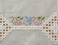 Embroidered table cloth Royalty Free Stock Images