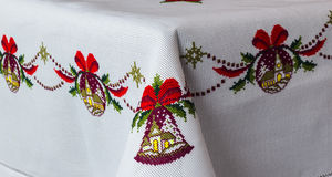 Embroidered tablecloth Stock Photography