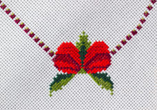 Embroidered tablecloth Stock Photos