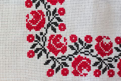 Embroidered tablecloth Stock Image