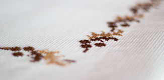 Embroidered tablecloth Royalty Free Stock Image