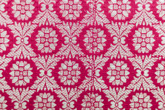 Embroidered textile oriental shiny handmade pattern made of threads Royalty Free Stock Images