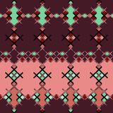Embroidered textile ornamental seamless cross-stitch pattern tex Stock Photo