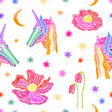 Embroidered unicorns in the sky. stock illustration