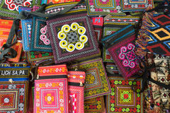 Embroidered wallets and purses, Vietnam souvenirs Royalty Free Stock Photography