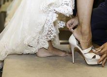 Embroidered wedding dress Stock Image