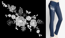 Embroidered white flower patch rose poppy daisy herbs. Women slim jeans pair decoration floral ornament print embroidery Stock Image