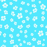 Embroidered white flowers on blue background Royalty Free Stock Photo