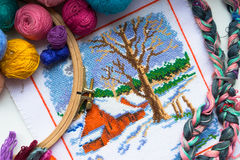 Embroidered winter house with yarn for colour knitting and tambour Stock Images