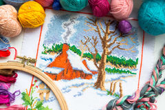 Embroidered winter house with yarn for colour knitting and tambour Royalty Free Stock Images