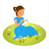 Embroiderer girl Royalty Free Stock Image