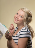 The embroideress Royalty Free Stock Photo