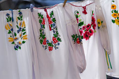 Embroideries on the clothesline Stock Image