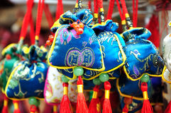 Embroidering bag. Colorful embroidering bags in Chinese traditional and local style Stock Photography