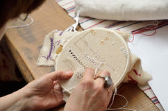 Embroidering hemstitch Stock Images