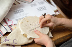 Embroidering hemstitch Royalty Free Stock Photography