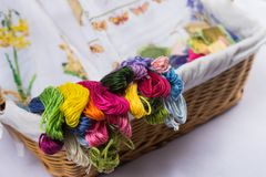 Embroidery and all necessary for this hobby. Thread scissors embroidery Hoop in a wicker basket Royalty Free Stock Images
