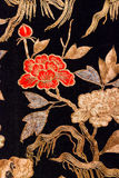 Embroidery. Ancient embroidery japanese kimono gold inlay on a black background Stock Image