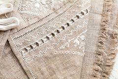 Embroidery background. Needlework in progress Stock Photo