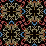 Embroidery Baroque vector seamless pattern. Tapestry ornamental colorful background. Grunge antique baroque damask ornament in royalty free illustration