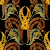 Embroidery Baroque vector seamless pattern. Tapestry textured vi vector illustration