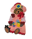Embroidery bear with flowers Stock Images