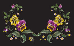 Embroidery beautiful floral neck line pattern with pansies and l. Adybug. Vector traditional embroidered heartsease flowers on black background for clothing vector illustration