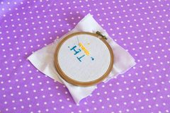 The embroidery hoop with canvas print, the needle, child to learn to embroider Stock Image